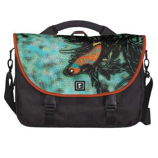 Naranja brillante y pescados beta azules bolsas de portátil