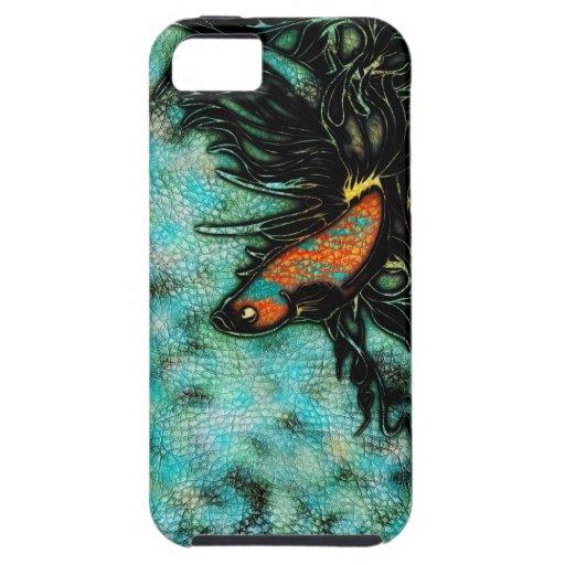 Naranja brillante y pescados beta azules iPhone 5 Case-Mate protector