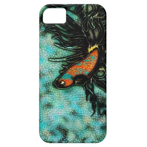 Naranja brillante y pescados beta azules iPhone 5 cárcasas