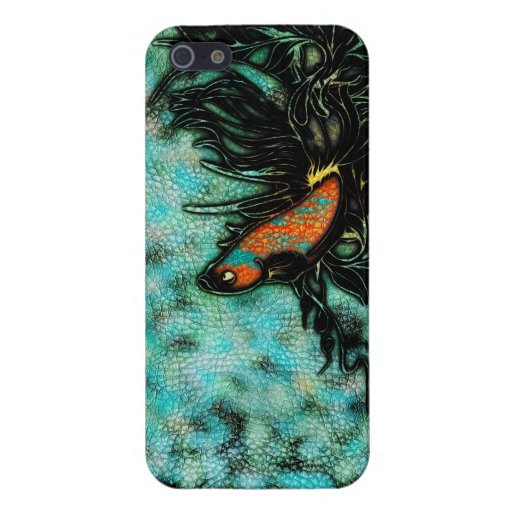 Naranja brillante y pescados beta azules iPhone 5 cobertura