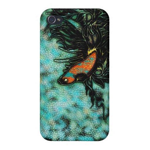 Naranja brillante y pescados beta azules iPhone 4/4S funda