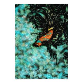 """Naranja brillante y pescados beta azules invitación 3.5"""" x 5"""""""