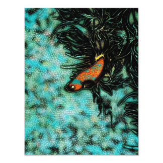"""Naranja brillante y pescados beta azules invitación 4.25"""" x 5.5"""""""