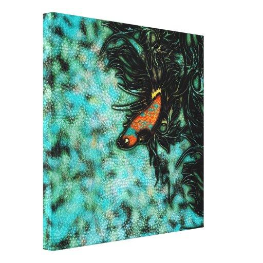 Naranja brillante y pescados beta azules impresion de lienzo