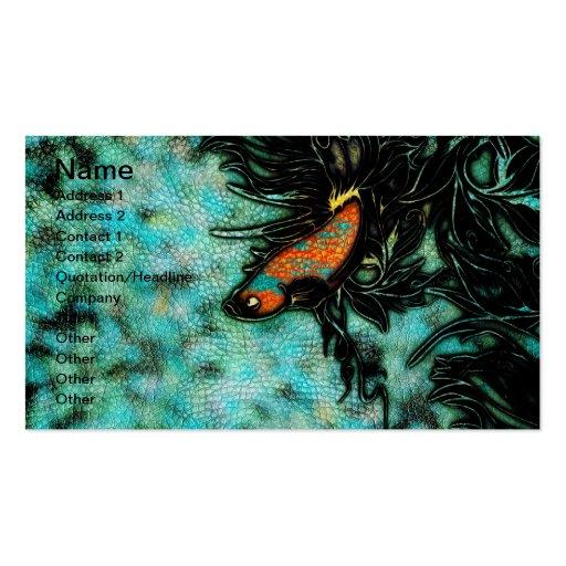 Naranja brillante y pescados beta azules tarjetas de visita