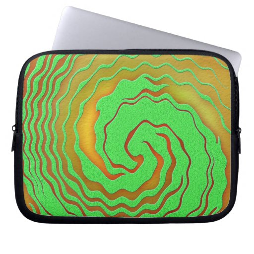 Naranja brillante y remolino abstracto verde manga computadora