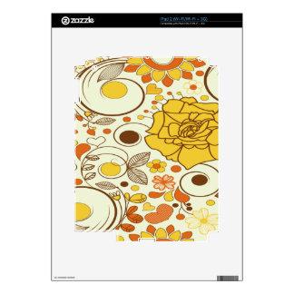 Naranja, Brown, amarillo, flores, corazones Skins Para iPad 2
