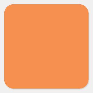 Naranja Calcomanías Cuadradas Personalizadas
