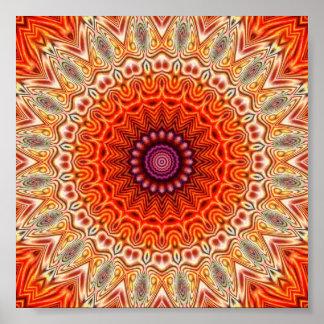 Naranja caleidoscópico de la flor y diseño del bla póster