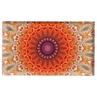 Naranja caleidoscópico de la flor y diseño del bla soporte de tarjeta de mesa