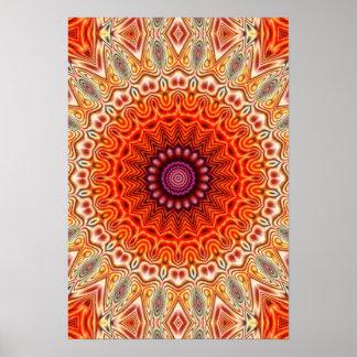 Naranja caleidoscópico de la flor y diseño del póster