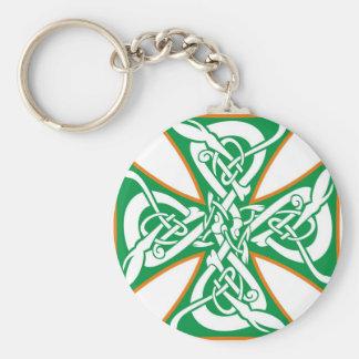 Naranja céltico/verde de la cruz del hierro llaveros personalizados