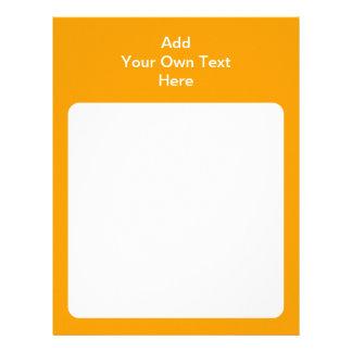 Naranja con el área y el texto blancos membrete a diseño