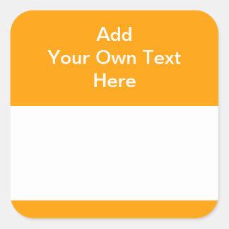 Naranja con el área y el texto blancos colcomanias cuadradass