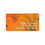 Naranja con la etiqueta roja de las flores etiquetas de dirección