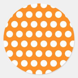 Naranja con los lunares blancos etiqueta redonda