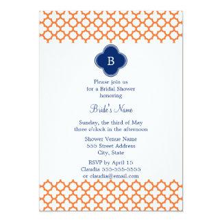 """Naranja con monograma, azul real Quatrefoil Invitación 5"""" X 7"""""""