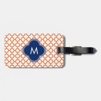 Naranja con monograma y azul real Quatrefoil Etiqueta Para Maleta