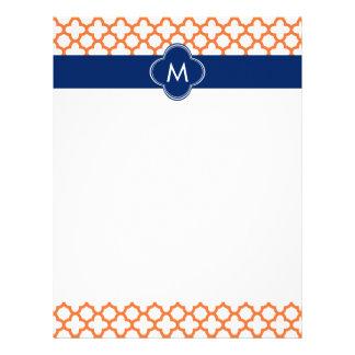 Naranja con monograma y azul real Quatrefoil Membretes Personalizados