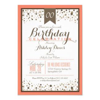 """Naranja coralino, blanco, y fiesta de cumpleaños invitación 5"""" x 7"""""""