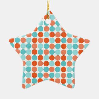Naranja coralino, trullo, turquesa, lunares adorno de cerámica en forma de estrella