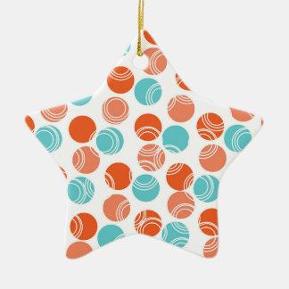 Naranja coralino, trullo, turquesa, lunares retros adorno de cerámica en forma de estrella