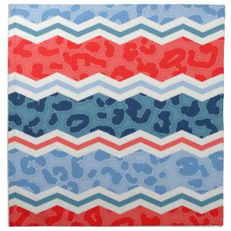 Naranja coralino y estampado leopardo azul claro servilleta imprimida