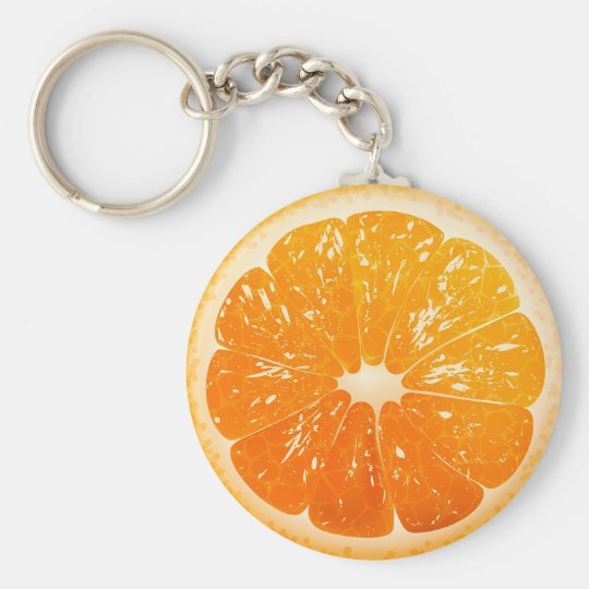 Naranja cortado llavero redondo tipo pin