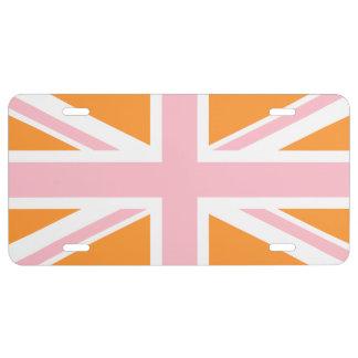 Naranja cremoso y Union Jack rosado Placa De Matrícula