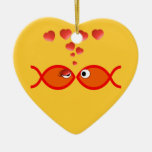 Naranja cristiano v2 de la tarjeta del día de San Adorno De Cerámica En Forma De Corazón