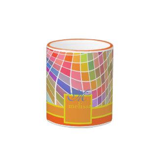 Naranja cuadrado de la superficie curvada de las taza de dos colores