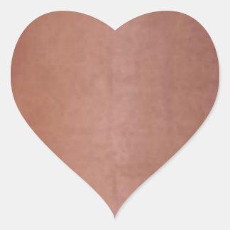 Naranja de cobre de oro llano de Brown Pegatina En Forma De Corazón