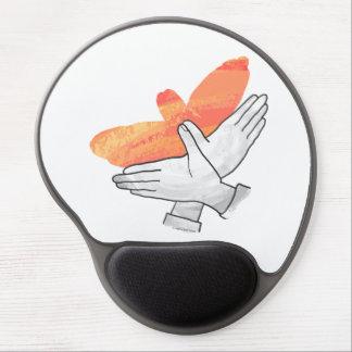 Naranja de Eagle de la silueta de la mano Alfombrillas De Raton Con Gel