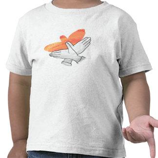 Naranja de Eagle de la silueta de la mano Camisetas