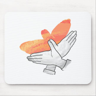 Naranja de Eagle de la silueta de la mano Alfombrilla De Ratones