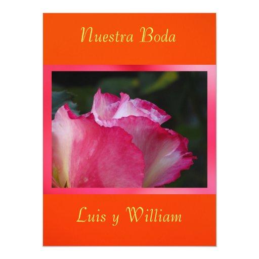 Naranja de Invitación - de Nuestra Boda - de Rosa Invitación 16,5 X 22,2 Cm