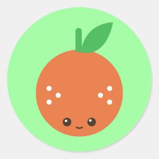 Naranja de Kawaii Etiqueta