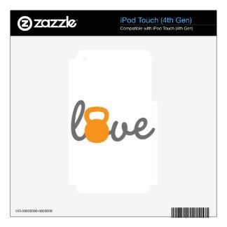 Naranja de Kettlebell del amor Calcomanía Para iPod Touch 4G