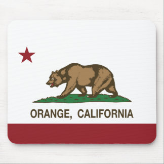 Naranja de la bandera del estado de California Tapete De Ratones