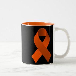 Naranja de la cinta de la ayuda de la conciencia taza de dos tonos