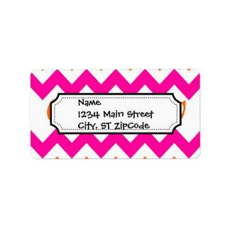 Naranja de la diversión y galones rosados con remo etiqueta de dirección