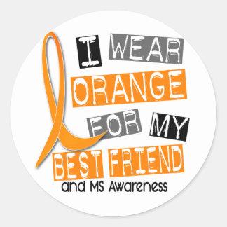 Naranja de la esclerosis múltiple del ms para mi etiquetas redondas