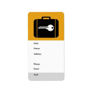 Naranja de la etiqueta del equipaje etiquetas de dirección