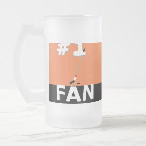 Naranja de la fan de hockey #1 y taza del negro