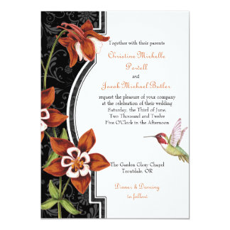 Naranja de la invitación del boda del colibrí de