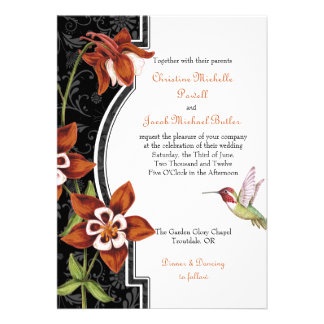 Naranja de la invitación del boda del colibrí de C