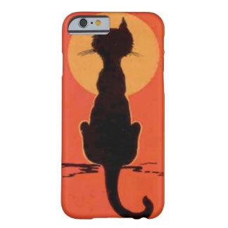 Naranja de la Luna Llena del gato negro Funda Para iPhone 6 Barely There