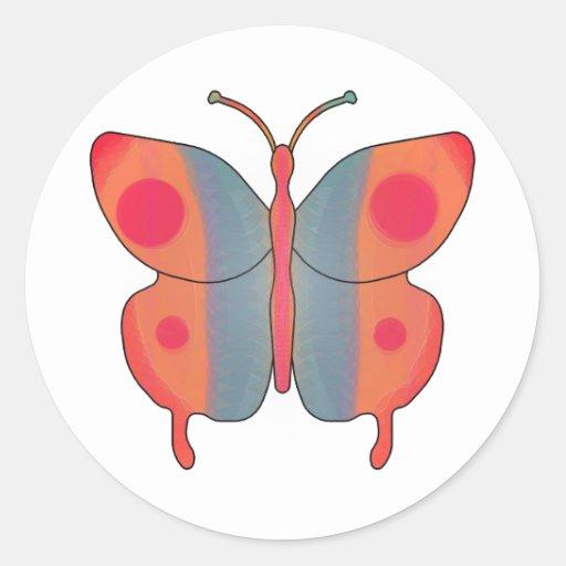 Naranja de la mariposa pegatinas redondas