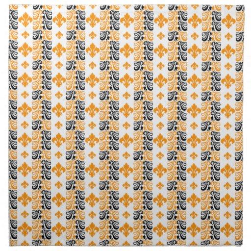 Naranja de la raya 1a de Fleur Servilletas Imprimidas