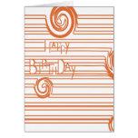 Naranja de la tarjeta de cumpleaños